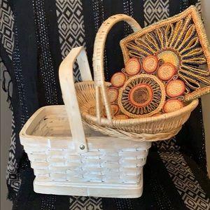 Farmhouse Wicker Rattan baskets & vintage trivets